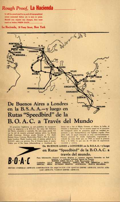 "British Overseas Airways Corporation – De Buenos Aires a Londres en la B.S.A.A. – y luego en Rutas ""Speedbird"" de la B.O.A.C. a Traves del Mundo (1947)"