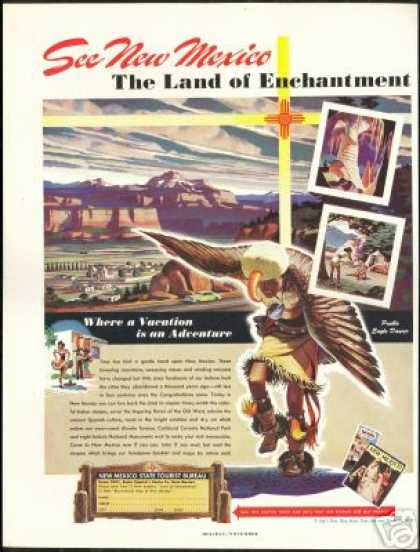 Pueblo Eagle Dancer New Mexico Travel Art (1947)