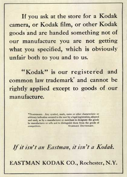 Kodak – If you ask at the store for a Kodak...