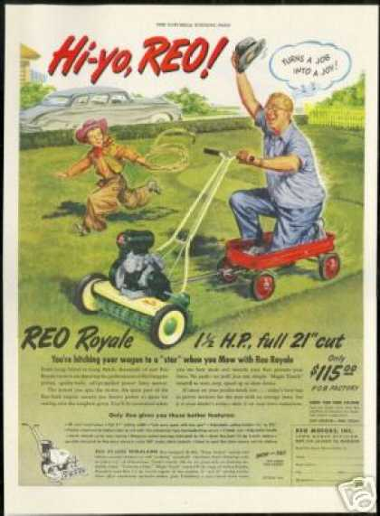 Reo Lawn Mower Red Wagon Cowboy Art (1949)