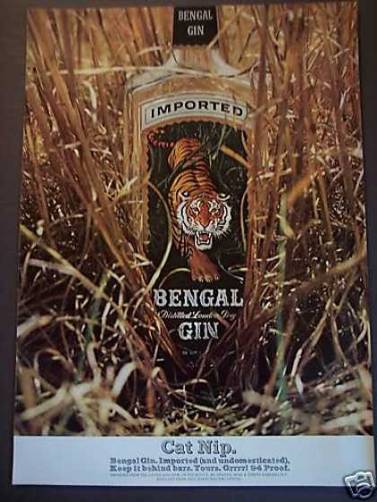 Bengal Gin Tiger Label Bottle (1967)