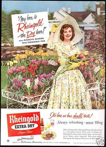Miss Rheingold Beer Tulip Flowers Photo (1958)