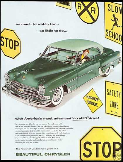 Green Chrysler 2 Dr Car No Shift Drive Signs (1954)