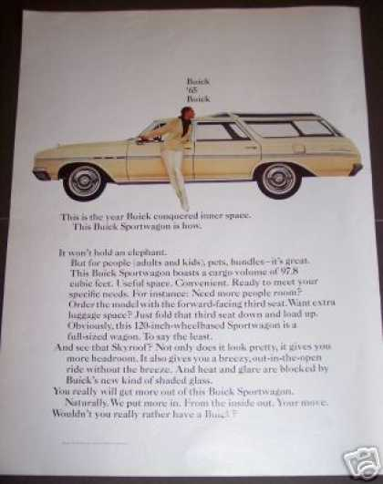 Original Car Ad 65 Buick Sportwagon (1964)