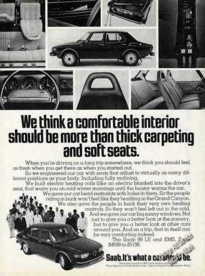 Saab Comfortable Interior Mor Than Thick Carpet (1974)
