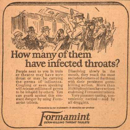 Unknown's Formamint – How many of them have infected throats? (1923)