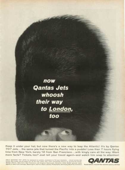 Qantas Airline Ad British Ceremonial Bearskin Hat (1959)