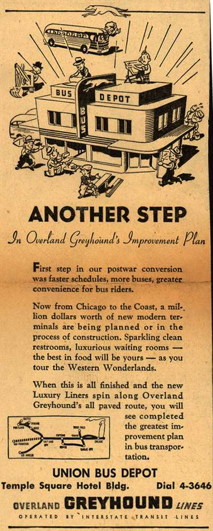 Interstate Transit Lines (Overland Greyhound)'s New Bus Terminals – Another Step in Overland Greyhound's Improvement Plan (1946)