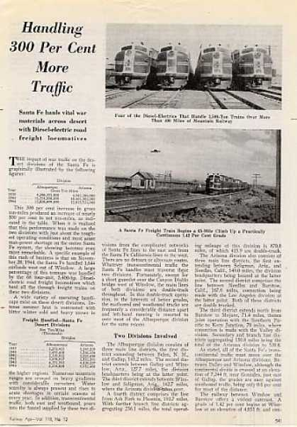 """Handling 300 Per Cent More Traffic"" Article/atsf (1945)"