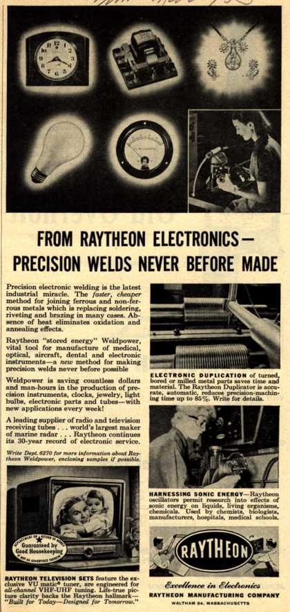 Raytheon Manufacturing Company's Various – From Raytheon Electronics – Precision Welds Never Before Made (1953)