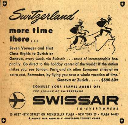 SwissAir's Zurich or Geneva – Switzerland, more time there (1954)