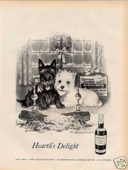 "B&w Ad ""Hearth's Delight"" Westie/scottie (1957)"