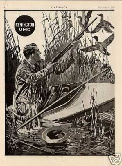 Remington Umc 2 Page Ad Lynn Bogue Hunt Art (1919)