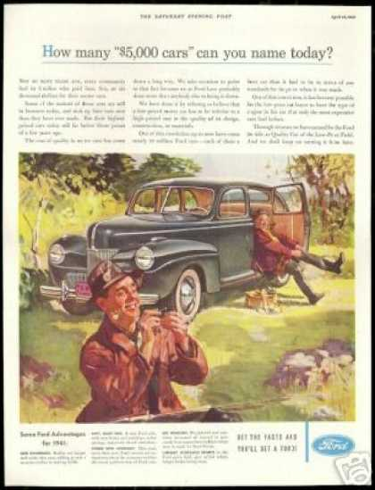 Ford 4dr Sedan Vintage Print Fly Fisherman Art (1941)