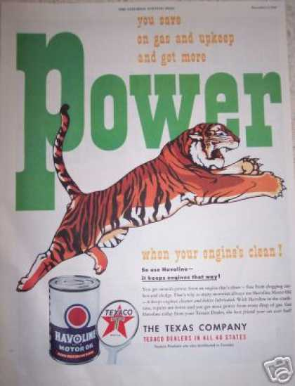 Tiger Power Havoline Oil Texaco (1949)