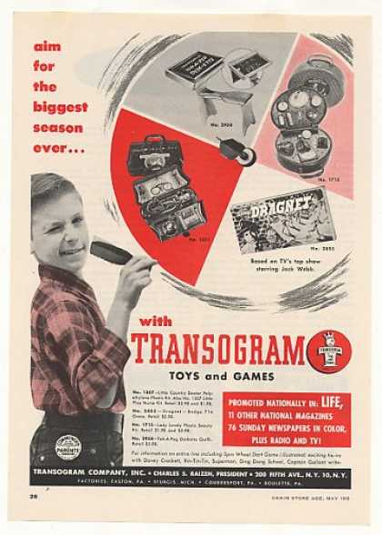 Transogram Toys Doctor Kit Dragnet Game Trade 1955