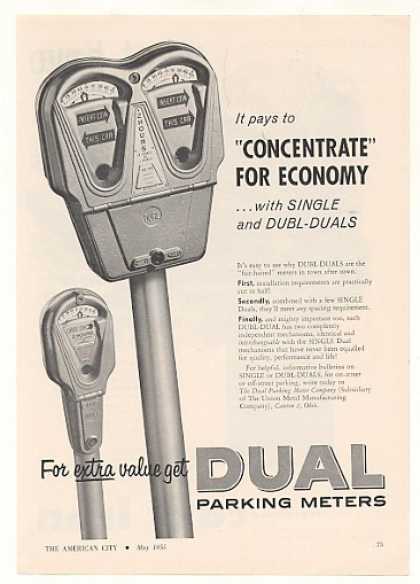 Dual Dubl Single Parking Meters (1955)