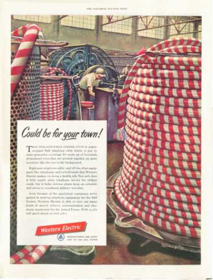 Western Electric Bell Telephone Cable Red White (1952)