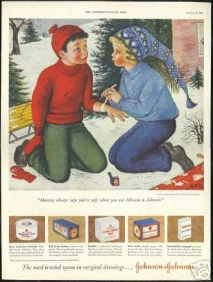 Johnson & Johnson J.J. Snow Sled Davis Art (1951)