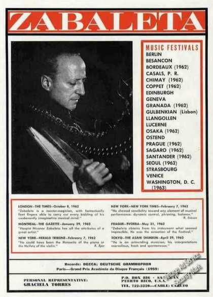 Nicanor Zabaleta Harpist Booking Trade (1963)