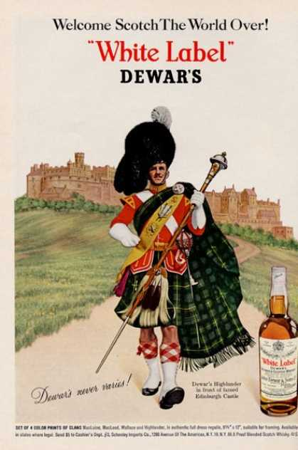 Dewar White Label Scotch Highlander Edinburgh (1966)