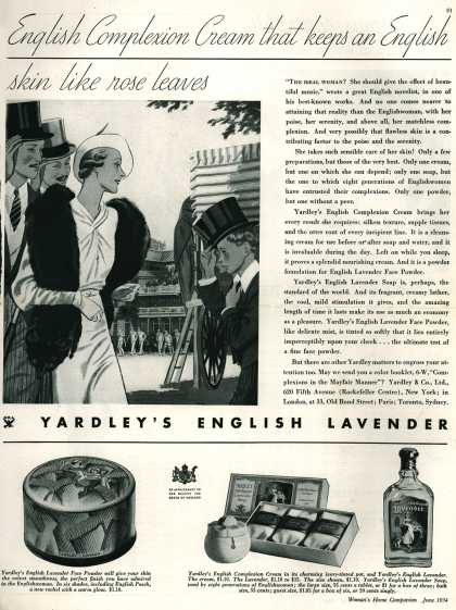 Yardley & Co., Ltd.'s English Lavender face powder & complexion cream – English Complexion Cream that keeps an English skin like rose leaves (1934)