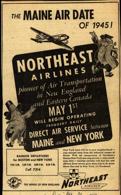 Northeast Airlines – The MAINE AIR DATE OF 1945 (1945)