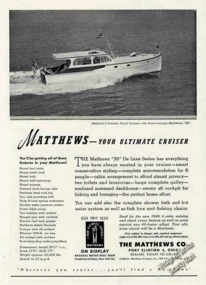 Matthews 38 Photo Port Clinton Oh Boat (1948)