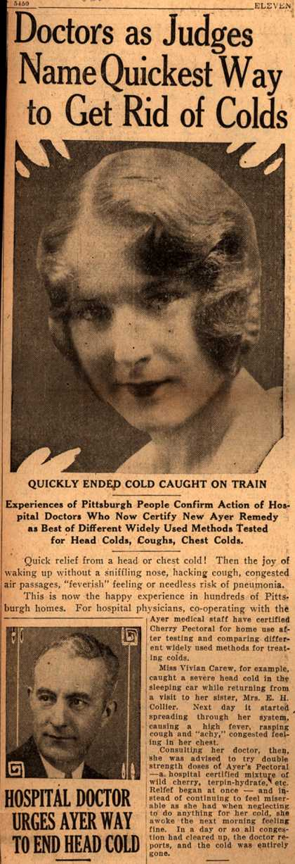 Ayer Laboratorie's Ayer's Cherry Pectoral – Doctors as Judges Name Quickest Way to Get Rid of Colds (1929)