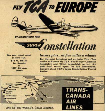 Trans-Canada Air Line's Super Constellation – Fly TCA to Europe (1954)