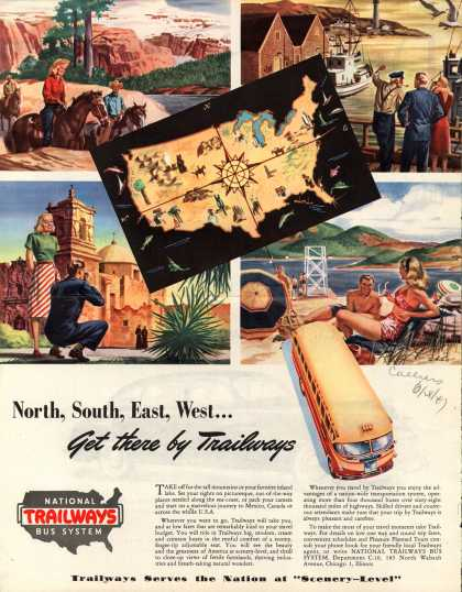 National Trailways Bus System – North, South, East, West...Get there by Trailways (1947)