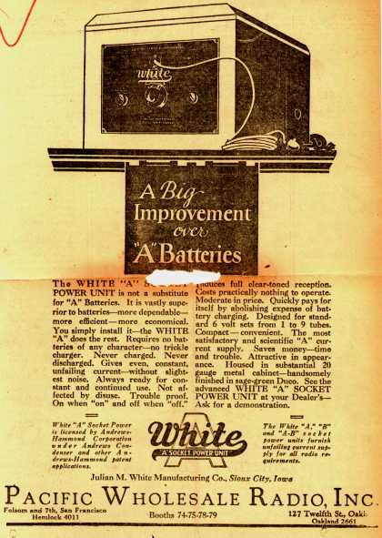 "Julian M. White Manufacturing Company's White ""A"" Socket Power Unit – A Big Improvement Over ""A"" Batteries (1927)"