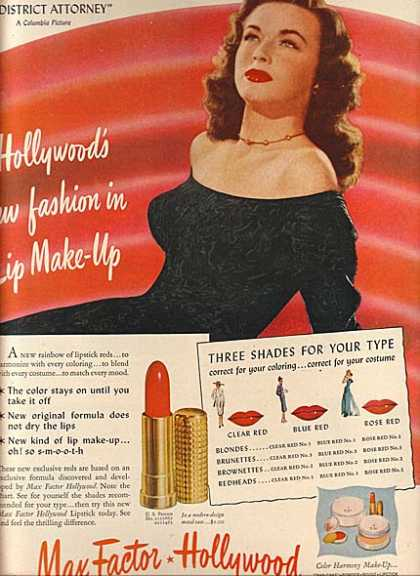 Max Factor Lip Make-UP – Marguerite Chapman (1947)