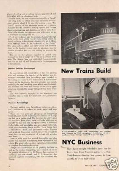 """New Trains Build Nyc Business"" Article (1955)"