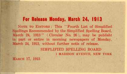 Simplified Spelling Board's Simplified Spelling – Fourth List of Simplified Spellings (1913)