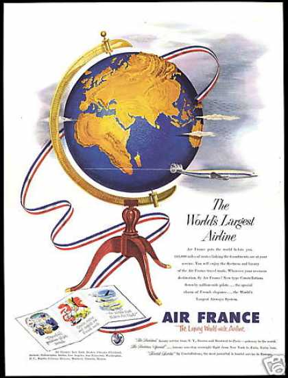 Air France Largest Airlines World Globe (1953)