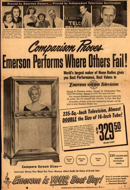 Emerson Radio and Phonograph Corporation's Television – Comparison Proves Emerson Performs Where Others Fail (1950)