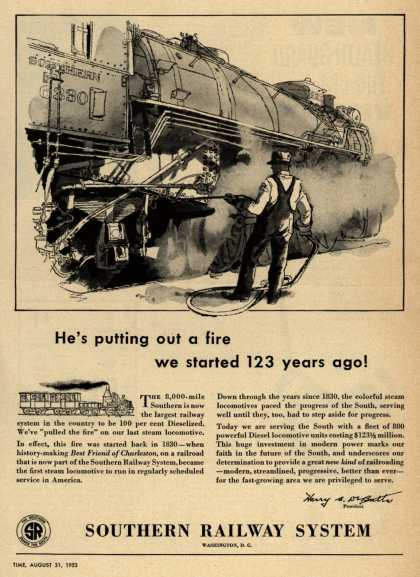 Southern Railway System's Diesel Locomotives – He's putting out a fire we started 123 years ago (1953)