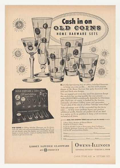 Libbey Glass Old Coins Barware Glassware Trade (1957)