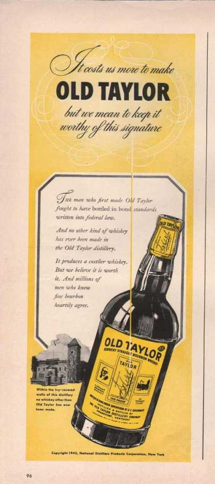 Old Taylor Kentuck Bourbon Whiskey (1942)
