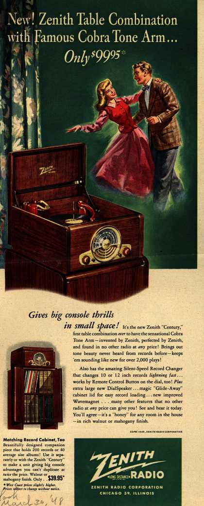 "Zenith Radio Corporation's ""Century"" Radio – New! Zenith Table Combination with Famous Cobra Tone Arm...Only $99.95 (1948)"