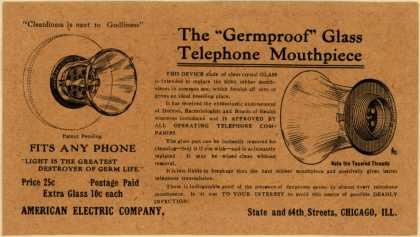 "American Electric Co.'s ""Germproof"" Glass Telephone Mouthpiece – The ""Germproof"" Glass Telephone Mouthpiece"