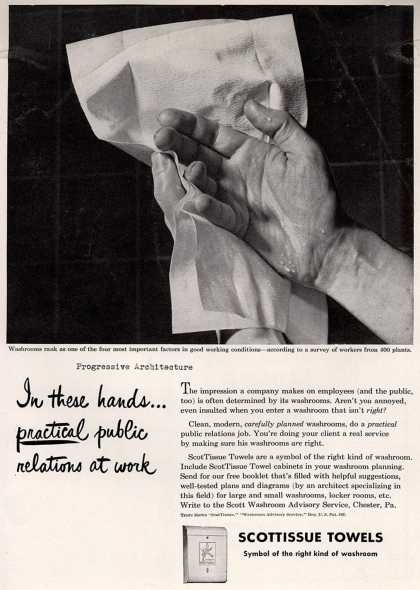 Scott Paper Company's ScotTissue Towels – In these hands... practical public relations at work (1948)