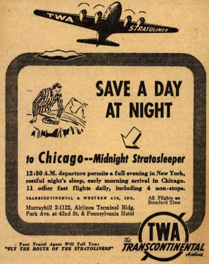 Transcontinental & Western Air's Stratosleeper – Save A Day At Night to Chicago – Midnight Stratosleeper (1941)