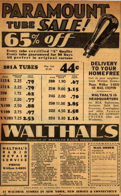 Walthal&#8217;s Radio Tubes &#8211; Paramount Tube Sale 65% Off (1931)