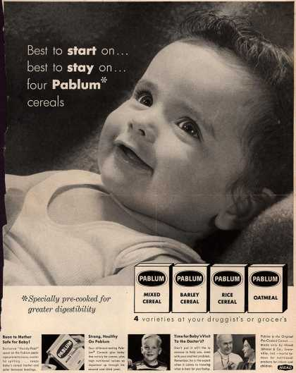 Mead Johnson and Company's Pablum – Best to start on... best to stay on... four Pablum cereals (1953)