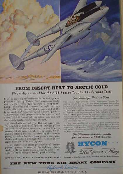 New York Air Brake Co Hycon Hydraulics P-38 Airplane (1941)