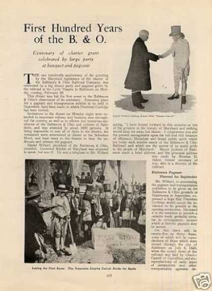 """First Hundred Years of the B&o"" Article (1927)"
