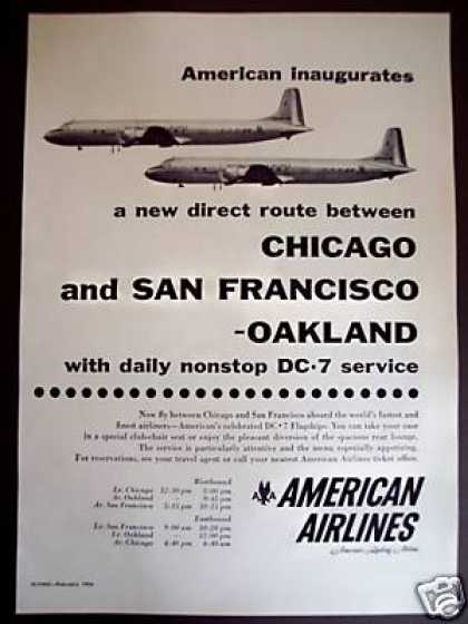 American Airlines Chicago San Fran Route (1956)