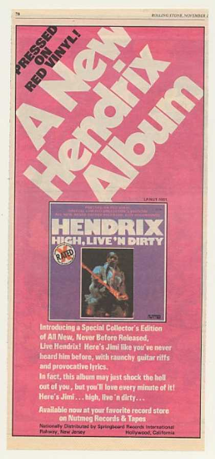 Jimi Hendrix High Live 'N Dirty Nutmeg Records (1978)